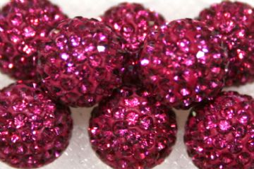 10mm Fuchsia Pink 115 Stone - Pave Crystal Beads- Half Drilled PCBHD10-115-024